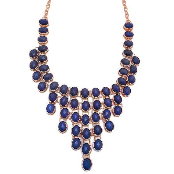 Triangle Multi Stone Necklace in Blue