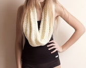 Bulky cowl, oversized knit scarf, infinity cowl, ivory warm soft double loop neck warmer, cream thick knit, womens knitwear, casual wear