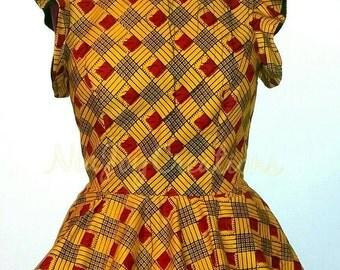 African Clothing: Maya African Print Peplum Top
