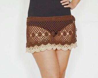 Mini skirts brown skirt beach cover up skirt crochet skirt boho skirt knitted beige skirt crochet cotton beach lace skirt summer mini skirt