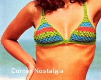 Crochet Pdf PATTERN crochet beachwear-Bikini vintage three colour-women's swimwear of 1970