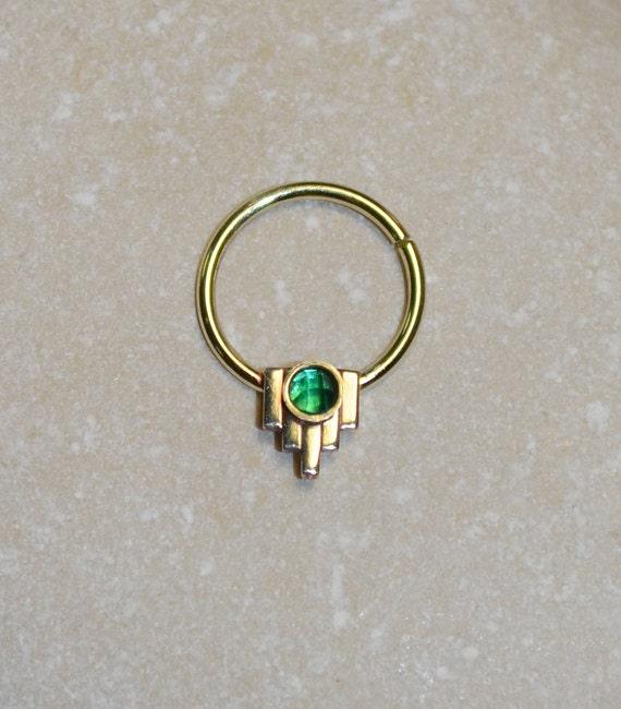 2mm emerald septum ring gold nose ring septum piercing