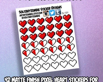 Pixel Heart Video Game Stickers for Planners, Scrapbooking, or Crafts || S-131