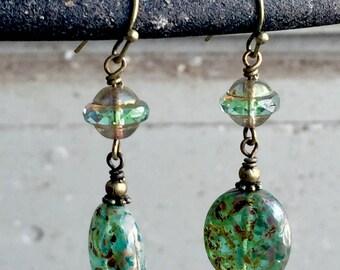 Green Czech Glass Earrings, Czech Glass and Brass Earrings, Green Dangle Earrings, Czech Glass Jewelry, Victorian Style Earrings