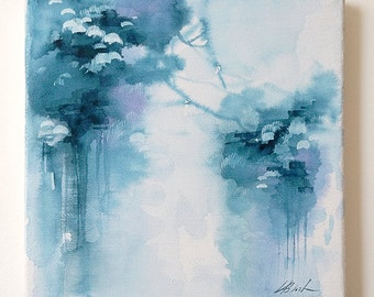 Rain, original  abstract watercolor on canvas modern art, mini canvas gift, miniature art, blue wall decor, small painting