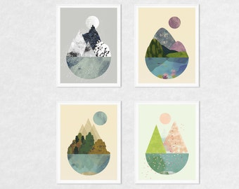 Art prints, wall art prints, art set, nature prints, set of 4 prints, 4 seasons wall art, print set, nature wall art, nature wall decor, art