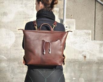 Brown Leather Backpack, Leather Backpack, Leather Laptop Bag, Leather Rucksack, Unisex Backpack, Leather Tote Bag, Leather Zipper Backpack