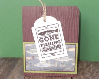 Fishing Birthday Card, Man Birthday Card, Dad birthday Card, Anniversary Card, Fisherman Thank You Card, Card for Men, Handmade Note Card