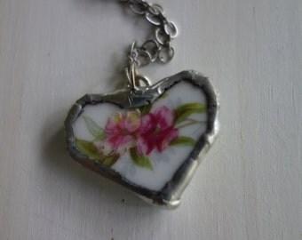 Broken china jewelry- broken china heart necklace - flower heart pendant- heart necklace- vintage china broken plate necklace