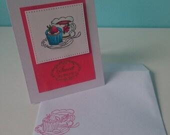Tea and cupcake card