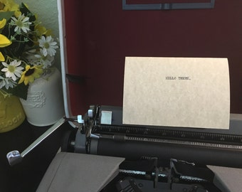 Hello, There. Simple Typewriter Greeting Card Letter.