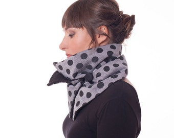 Cowl With Polkadots, Light Gray Neck Warmer, Collar Scarf With Dark Gray Dots, Shawl With Button, Infinity Scarf