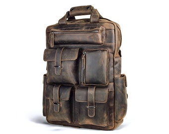 mens vintage leather backpack Backpack Tools