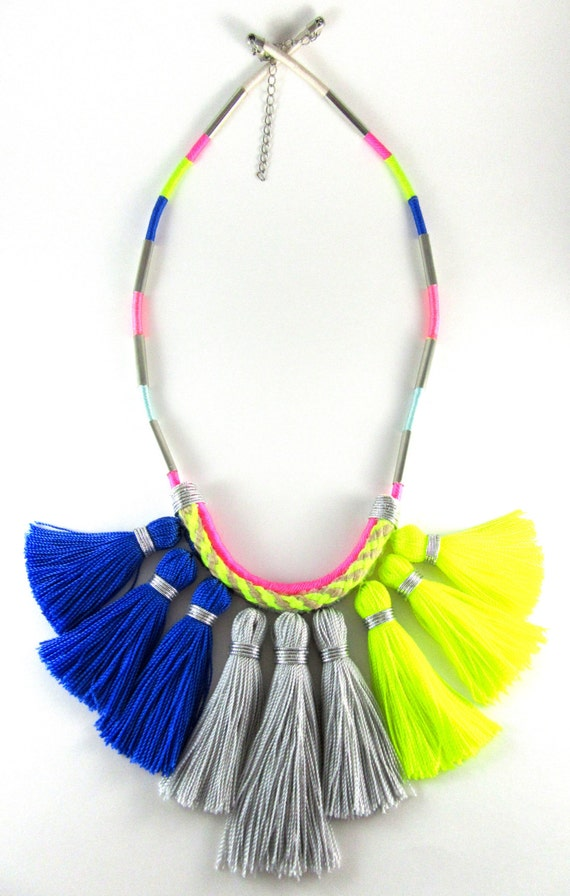 royal blue grey neon yellow boho colorblock thread wrapped. Black Bedroom Furniture Sets. Home Design Ideas
