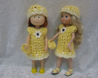 "8"" MADELINE Doll Clothes Handmade Outfit Crochet Dress, Hat and Purse Set  ~ SUNSHINE"