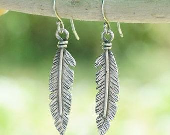 Silver Feather Earrings! Sterling silver. Handcut. hammered feathers