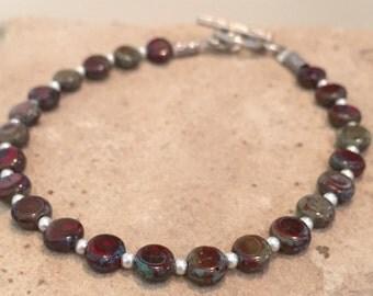 Silver bracelet, natural bracelet, Czech glass bead bracelet, fall bracelet, sterling silver bracelet, Hill Tribe silver bracelet