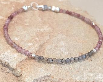 Pink and gray bracelet, tourmaline bracelet, labradorite bracelet, sterling silver bracelet, sundance style bracelet, gemstone bracelet
