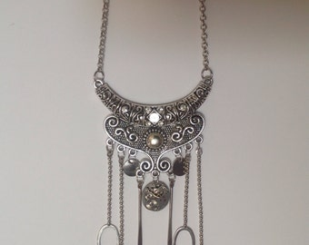 Necklace Boho Steampunk silver