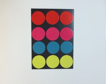Circle Flat Magnets - Red, Pink, Blue and Yellow