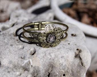 Raw Amethyst Bangle, Raw Amethyst and Pyrite Bangle, Raw Mineral Bracelet, Healing Crystals & Stones, Raw Stone Jewelry, Raw Stone Bracelet