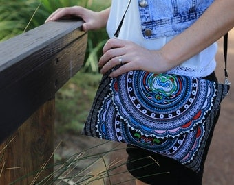 White Mandala Cross-body bag with removable strap