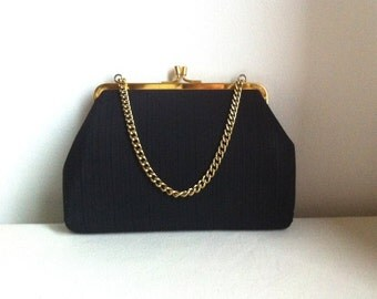 Vintage 1940s Black Ribbed Fabric Purse Handbag With Chain Handle