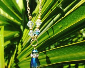 Gorgeous Rainbow &  Swarovski Crystal Necklace
