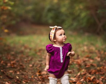 Girl Baby Romper, Bubble Romper, Fall Baby Girl Clothes, Girls Clothing, Toddler, Berry, Lace Romper, Thanksgiving, Newborn Romper