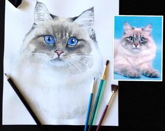 Custom pet portrait. Watercolor. Original. Your dog/cat/pet.