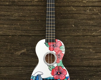 Hand-Decorated Soprano Ukulele Guitar - HIBISCUS