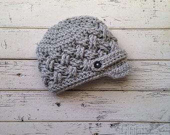 Baby Boy Crochet Textured Newsboy Hat, Boys Gray Basketweave Hat, Newsboy Hat, Crochet Newsboy Baby Boy Hat,Toddler Gray Hat, MADE TO ORDER!