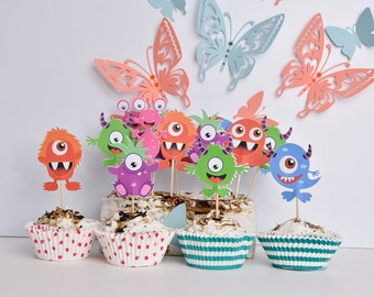 16 Monster Cupcakes Toppers, Little Monster Party Supplies, Monster Cake Decorations, Monsters Birthday Party, Monster High Cake Decoration