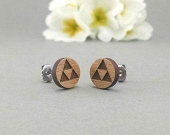 Zelda TriForce Earrings - Laser Engraved on Alder Wood - Nintendo Legend of Zelda - Hypoallergenic Titanium Post Earrings