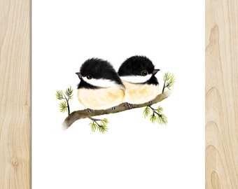 Chickadees, black capped chickadees, chickadee art, bird painting, bird gifts, bird lover, bird decor, bird print, bird wall art