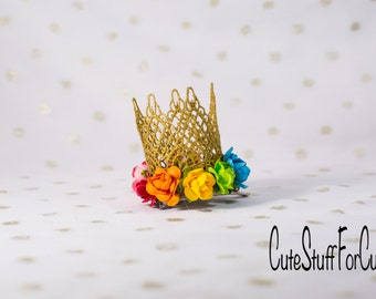 RAINBOW Mini gold lace crown clip with flowers, princess dress up, birthday, cake topper, or photography prop