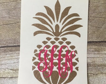 Monogram pineapple decal, Pineapple yeti decal, gold glitter decal, mongram decal, personalized pineapple decal, pineapple car decal