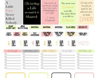 DIGITAL DOWNLOAD snappy soiree party planner printable AND new stickers!