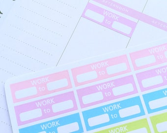 Work Stickers, Work Planner Stickers, Pastel Stickers for Erin Condren, Work Tracker, Shift Tracker, Shift Stickers, Happy Planner Stickers