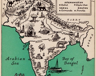 Pictorial INDIA Map of INDIA Afghanistan Map Nepal Map 1940s Pictorial Map Print Travel Map Gallery Wall Art Home Decor
