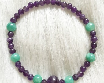 Bracelet - Genuine Amethyst Stone Beads and Seafoam Green Glass beaded Bracelet