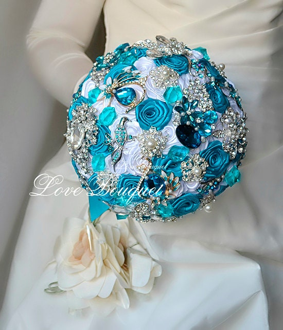 Turquoise Wedding Bouquet Brooch Bouquet Bridal Jewelry