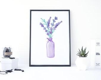 Watercolor Lavender, Lavender Art, Watercolor Flowers Digital, Lavender Painting, Print Watercolor, Botanical Download, Floral Digital Art
