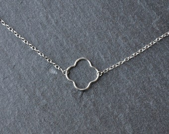 Sterling Silver Flower Bracelet- Four Leaf clover bracelet-minimalist sterling silver bracelet- sterling silver bracelet