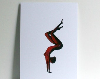 Woman red shadow handstand Postcard