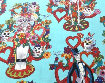 Dia de los Muertos Fabric, Vida, Tree of Life, turquoise, Alexander Henry, Day of the Dead, skeleton, sugar skull, by the yard or half yard