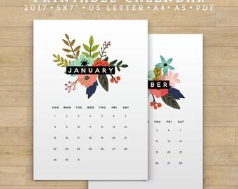 SALE-Printable Calendar 2017, Floral Calendar Printable Planner 2017 PDF, A4 UsLetter A5 Calendar Printable Wall Calendar Flower, DIGITAL