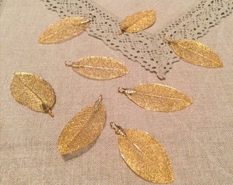 Gold-plated jewelry leaves.