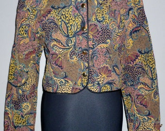 Vintage 1980's Quilted Paisley Cropped Jacket Silk UK 10 - 12