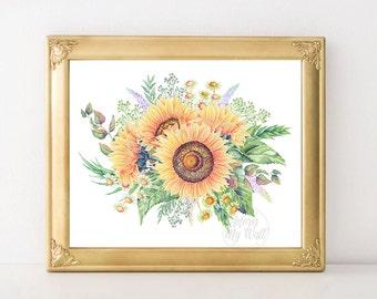 Sunflowers print, printable art, sunflower decor, wall art, instant download, digital print botanical art, floral wall art, floral print